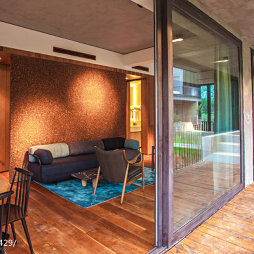 度假酒店休闲区阳台隔断设计效果图