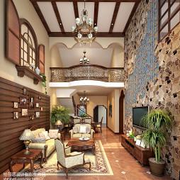 复式浪漫田园客厅吊顶设计