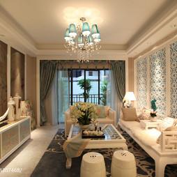 中式样板房客厅背景墙装修效果图