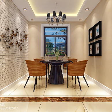 现代三居室家庭餐厅背景墙设计