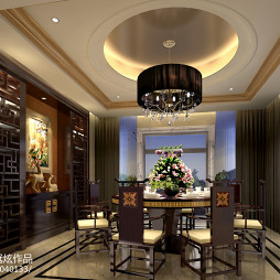 中式餐厅圆吊顶装修设计效果图欣赏