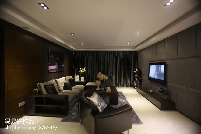 黑色系现代客厅设计