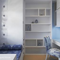 简约中式儿童房书柜装修设计