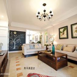 美式客厅沙发背景墙挂画效果图