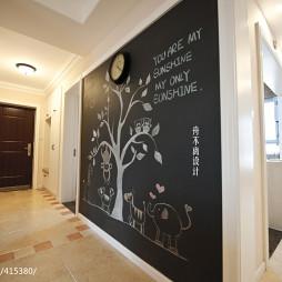 美式玄关手绘墙设计