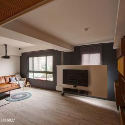 混搭风格客厅旋转电视墙设计效果图