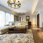 简约中式客厅落地窗样板房设计