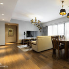 简约中式客厅餐厅吊顶样板房设计