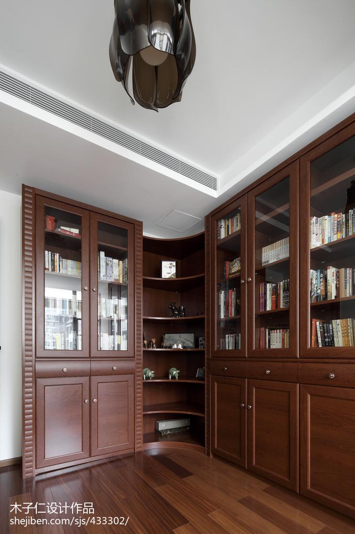 书房书柜装修效果图_简约中式书房书柜样板房设计 – 设计本装修效果图