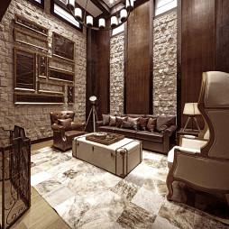 柏混搭风别墅客厅背景墙设计