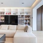 混搭风格客厅书架设计