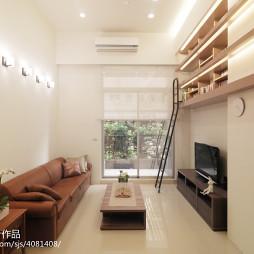 二居室现代客厅书柜装修