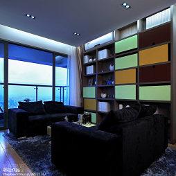混搭客厅置物架样板房设计