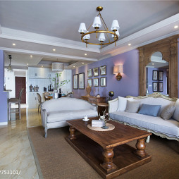 简约美式客厅吊顶设计效果图