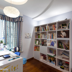 现代风格书房窗帘装修图