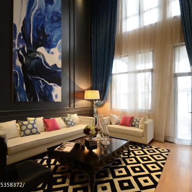 新古典别墅客厅窗帘装修效果图