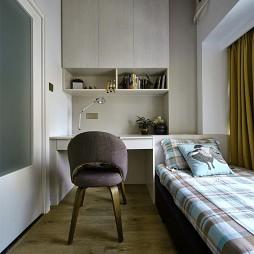 现代卧室书柜样板房设计效果图