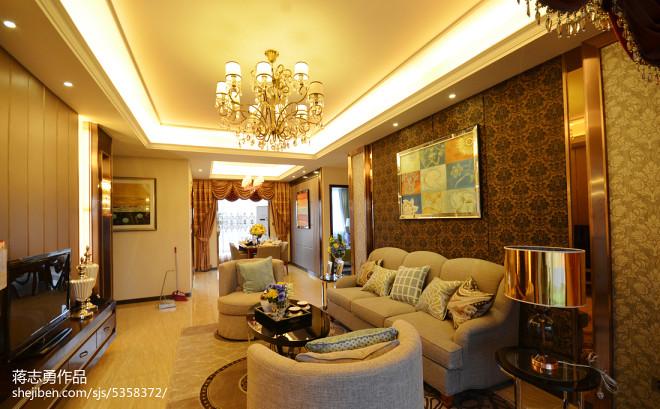 美式客厅背景墙样板房设计