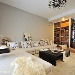 现代客厅中性色沙发背景墙效果图