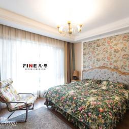 三居室美式卧室窗帘效果图