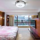 别墅豪宅中式卧室落地窗效果图
