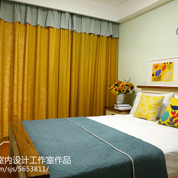 绿地香颂美式卧室窗帘效果图