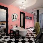 4500㎡现代风创意酒店粉红主题间设计