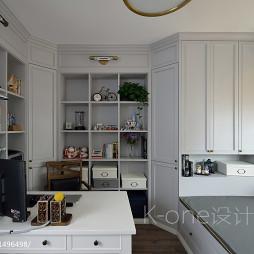 三居室美式书房组合壁柜装修效果图