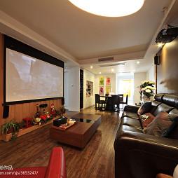 复式现代客厅电视背景墙设计