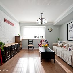 美式风格客厅白色文化石背景墙效果图