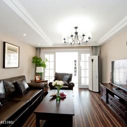 复式楼美式风格客厅吊顶装修效果图