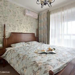 美式乡村卧室壁纸装修效果图