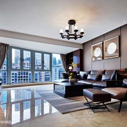 现代中式住宅客厅落地窗装修效果图