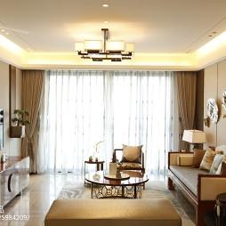 中式客厅窗帘装修图片