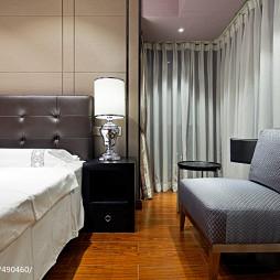 现代酒店式公寓卧室窗帘装修图片