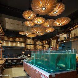 500㎡复古风格中式餐厅厨房设计