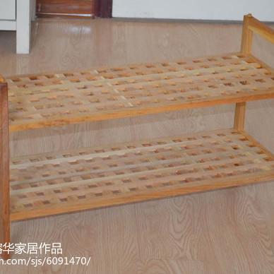 网格防尘鞋架浴室实木置物架可拆装_2215728