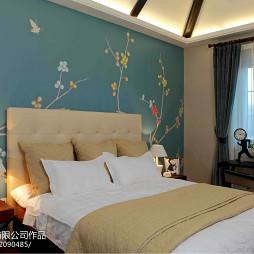 混搭风格别墅卧室手绘背景墙设计