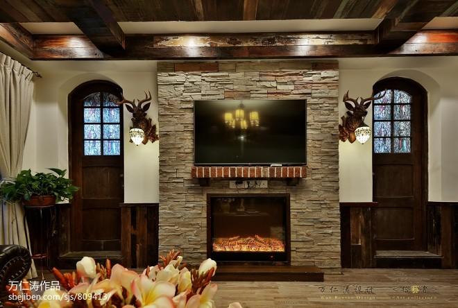 美式壁炉背景墙