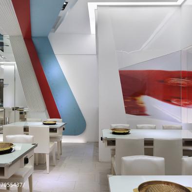白色系餐厅就餐区设计