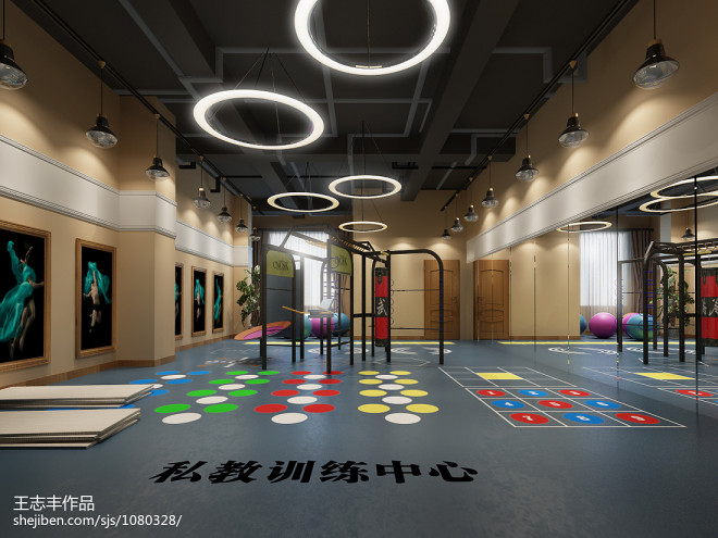 休闲会所_300万元娱乐空间2000平米装修案例_效果图 - 国运健身房 - 设计本