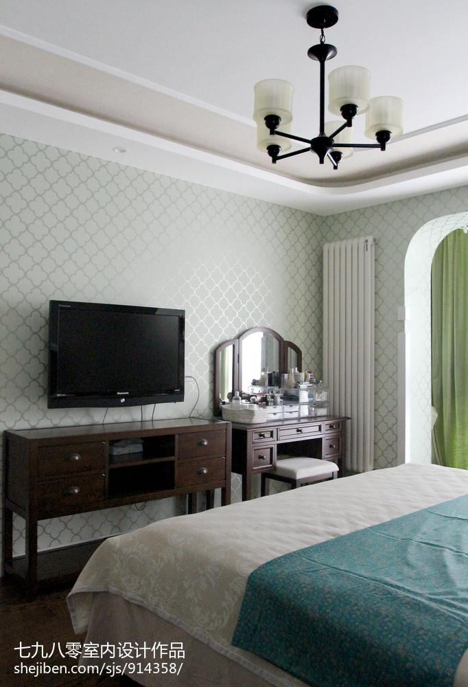 卫生间隔断效果图_轻奢美式田园风格背景墙设计 – 设计本装修效果图
