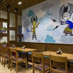 卡通般彩色快餐店用餐区装修
