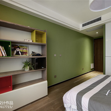 简单现代风格卧室书架装修