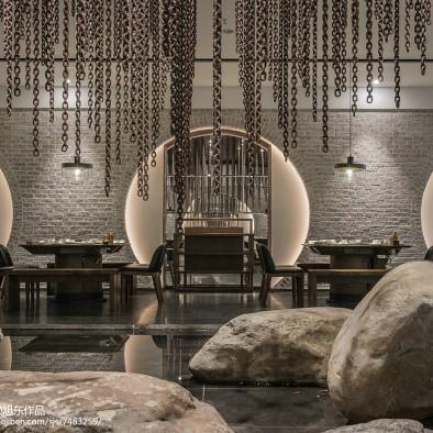 工装中式主题餐厅布局效果图