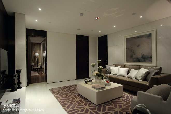 黑白简约风格客厅装修
