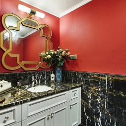 美式风格红色卫浴设计