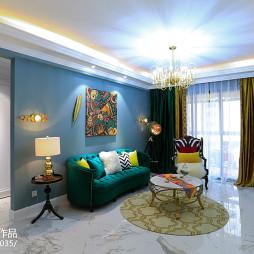 蓝色系混搭风格客厅设计