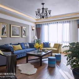 蓝色系美式风格客厅装修