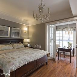 美式卧室带书房效果图
